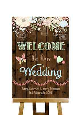 Rustic Wood Effect Welcome To Our Wedding Personalised Wedding Sign