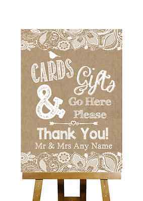 Burlap & Lace Effect Cards And Gifts Post Box Personalised Wedding Sign