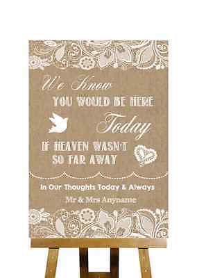 Burlap & Lace Effect Loved Ones In Heaven Personalised Wedding Sign