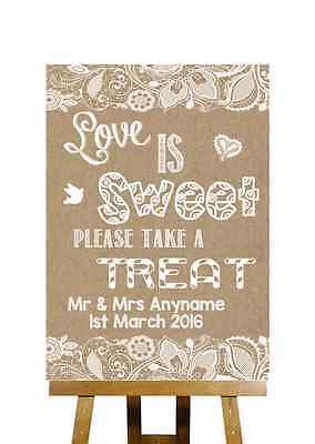 Burlap & Lace Effect Love Is Sweet Candy Buffet Personalised Wedding Sign