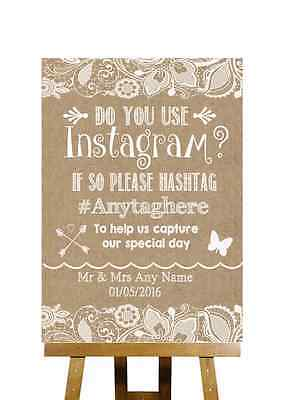 Burlap & Lace Effect Photos On Instagram Personalised Wedding Sign