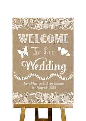 Burlap & Lace Effect Welcome To Our Wedding Personalised Wedding Sign