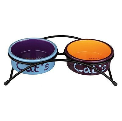 Raised Ceramic Cat Feeding Bowls & Stand Eat on Feet Cat Dish Bowl