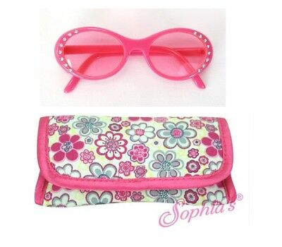"""Doll Clothes AG 18"""" Pink Rhinestone Glasses Case Made For American Girl Doll"""