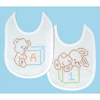 Bear & Bunny Baby Bibs - Stamped Cross Stitch Kit. Shipping is Free