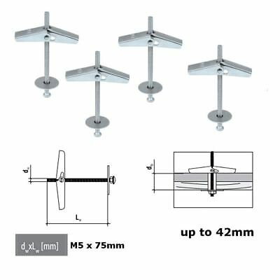 2x Metal Ceiling Wall Plasterboard Hook Hanger with Spring Toggle Fixing M4x75mm