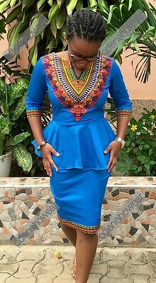 Odeneho Wear Ladies Blue Polished Cotton/Dashiki  Top & Skirt.African Clothing.S
