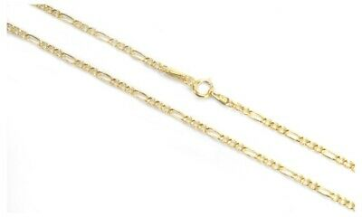 """BRAND NEW 14k Yellow Gold 2mm Italy Figaro Link Chain Necklace 16"""" - 24"""""""