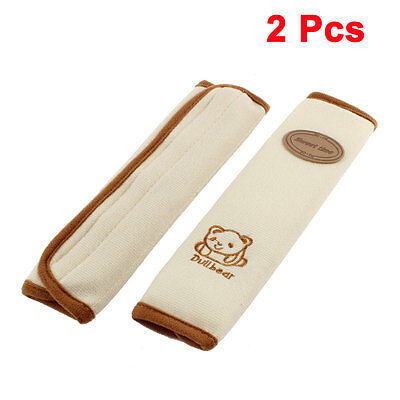 2PCS Safety Seatbelt Cover Bear Pattern Shoulder Protector Pad Cushion Beige