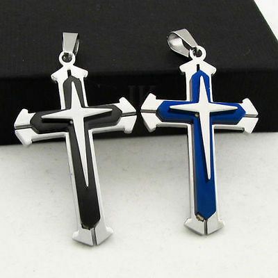 New Unisex's Men Black Silver Stainless Steel Cross Pendant Chain Necklace