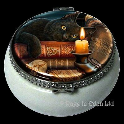 THE WITCHING HOUR Black Cat Art Mini Ceramic Trinket Box By Lisa Parker (5.5cm)