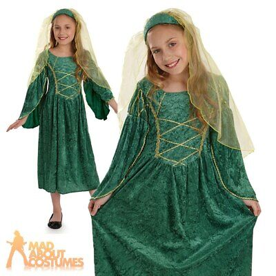 Girls Tudor Princess Costume Maid Marion Book Week Day Fancy Dress Outfit Kids