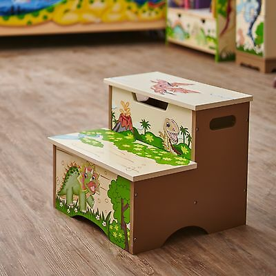 Childrens Dinosaur Kingdom themed Kids Wooden Step Up Stool with Storage