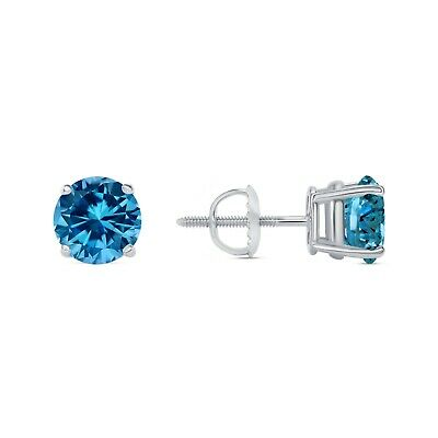 2 Ct Round Blue Earrings Studs Solid 14K White Gold Brilliant Screw Back Basket