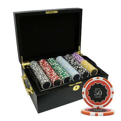 500 14G Eclipse Casino Clay Poker Chips Set Mahogany Case Custom Build