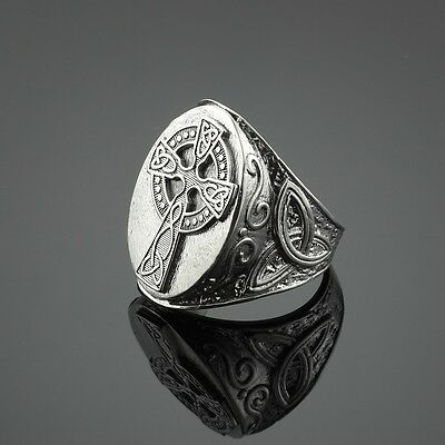Men's 925 Sterling Silver Trinity Triquetra Celtic Cross Ring