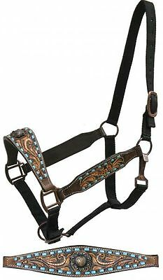 DARK Leather Belt Style Halter w/ TEAL Buck Stitch & Tooling!! NEW HORSE TACK!!