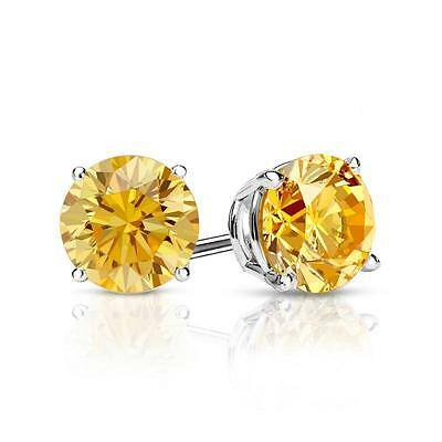 2.25 Ct Round Cut Yellow Earrings Studs Solid 14K White Gold Screwback Basket