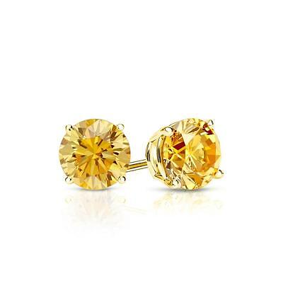 1 Ct Round Yellow Canary Earrings Studs Solid 14K Yellow Gold Screw Back Basket