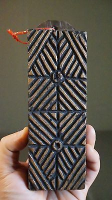 """Very Fine Early 1900 Korean Wooden Rice Cake Printing Mold 6.4""""L"""