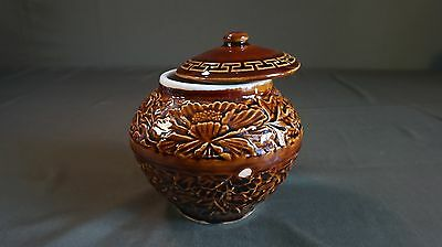 Beautiful 1940 ~ 50's Korean Brown Glaze Condiment Jar with Lid Floral Pattern