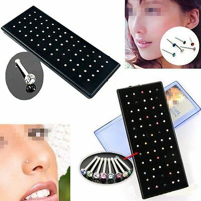 lots 60pcs Crystal Rhinestone Nose Ring Stainless Steel Body Piercing Jewelry