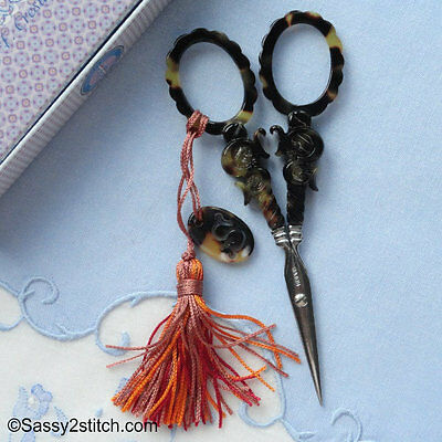 "Sajou French Faux Tortiseshell ""S"" Series Embroidery Scissors, Collectors"