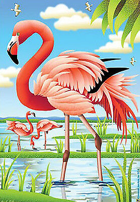 "Fancy Flamingo Summer House Flag Pink Birds Water Nautical Surf  Lake 28"" x 40"""