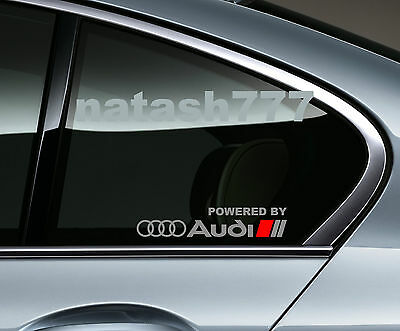 Powered by Audi Racing Sport S Line Window Decal sticker emblem logo SILVER/ Red