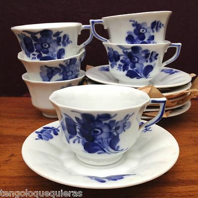 Antique set of 6 ROYAL COPENHAGEN blue flowers 10/8562 cup & saucer for coffee