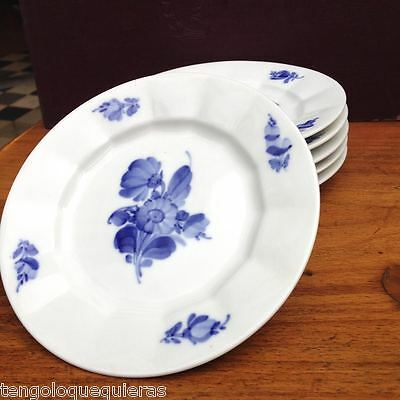 Antique set of 6 ROYAL COPENHAGEN blue flowers 10/8553  saucer plate