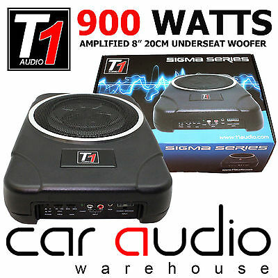 BSW8ACT 900 Watts Amplified Under Seat Slimline Car Sub Subwoofer Bass Tube