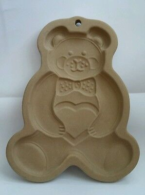 The Pampered Chef Teddy Bear w/ Heart Cookie Candy Mold Stoneware Heritage