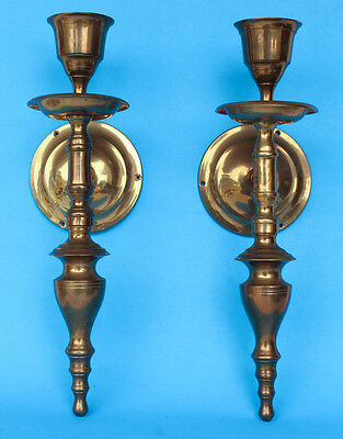 "Vintage - Pair Of 2 Solid Brass Wall Candle Holders / Sconces 14.25"" tall"