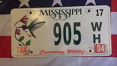 Plaque d immatriculation Mississippi 905WH USA US License Plate