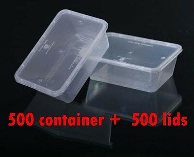 1000 Pieces 750ml  rectangular take away containers 500base+500lids