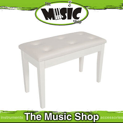 New Polished White AMS Piano Keyboard Stool with Book Compartment - KTW18