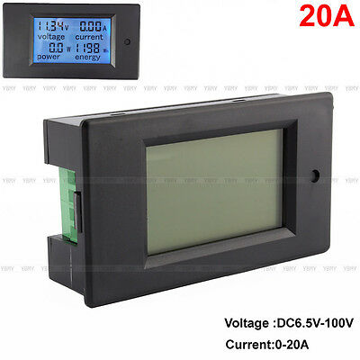 DC 20A LCD Voltage Current KWh Watt Car Battery Panel Power Monitor Combo Meter