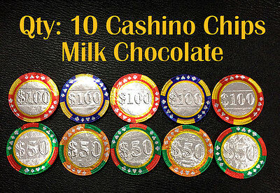 10 x Milk Chocolate Casino Chip