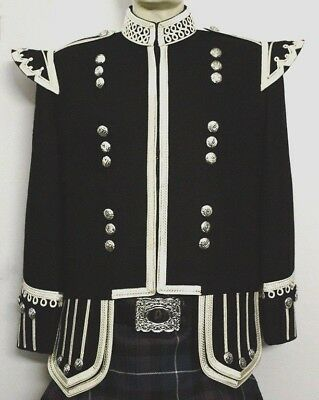 Piper & Drummer Doublet Black, Fancy Collar With Silver Braid And Trim.
