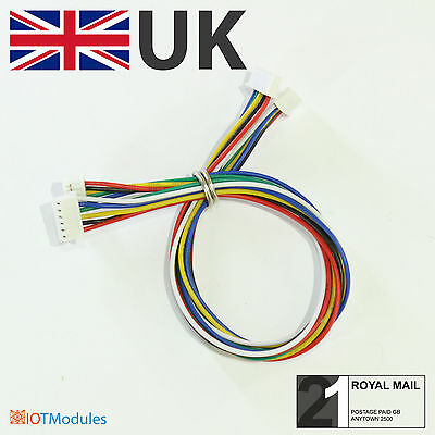 2 x Micro JST 1.25mm 6-Pin Male & Male Connector 150mm long