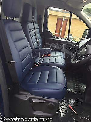 Vw Transporter T5  Van Seat Covers All Blue Quilted Pvc Leather  120Bu