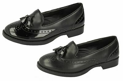 Girls Spot On Black Slip On Brogue Shoes with Tassles PU / Patent : H3R037