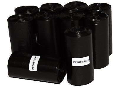1012 Dog Pet Waste Poop Bags 44 Black Unscent Refill Rolls Coreless