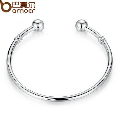 Bamoer Jewelry Silver Bangle Bracelet Can Add Different type European Charm Bead