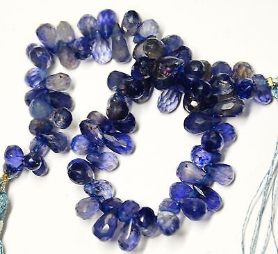 """145Cts. 9"""" 5@7-5@8 Mm Natural Gem Stone Micro Faceted Iolite Tear Drop Beads Str"""