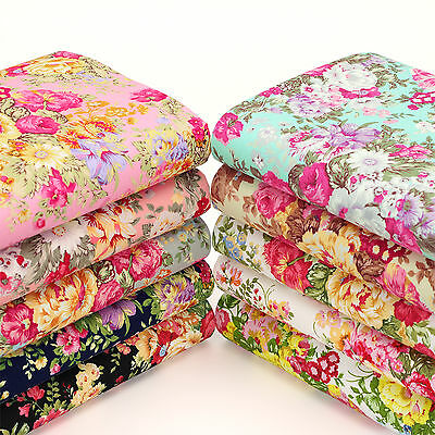 Cotton Fabric per Yard Retro Bouquet Floral Dress Quilt Patchwork FabricTime YA6