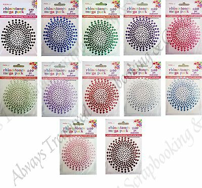 PortaCraft Rhinestone Mega Pack 240pce ~ 12 Colour Options *Scrapbooking Card