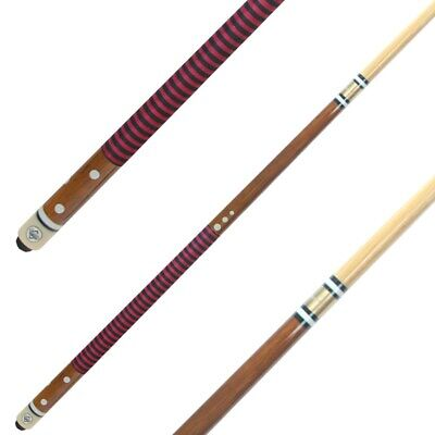 Nylon Wound hand Grip Timber Pool Snooker Billiard Cue With 11mm Screw Tip RED