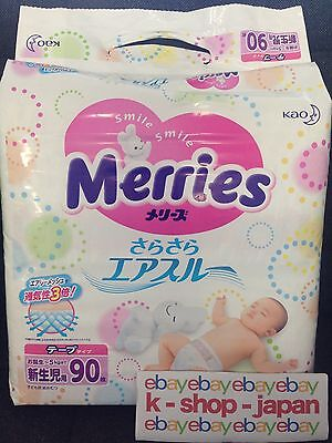 NEW Merries KAO Japan-Baby Diapers AIR THROUGH Tape type 90 sheets for newborn